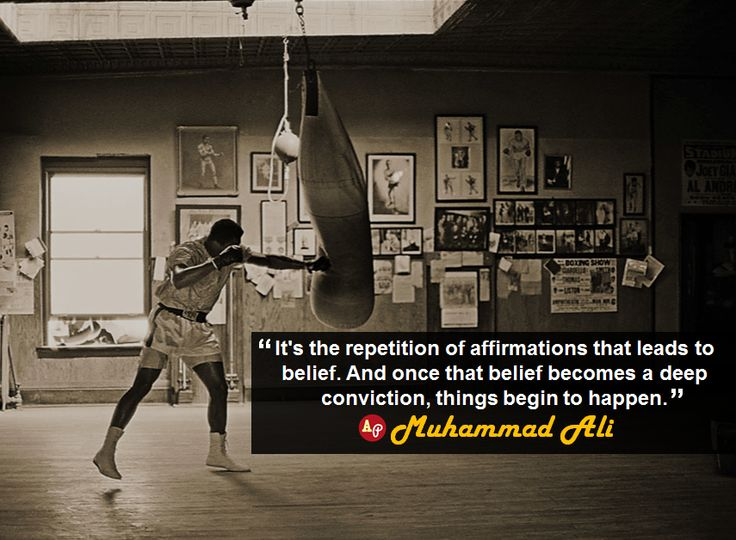 muhammad ali quotes - It's the repetition of affirmations that leads to belief. And once that belief becomes a deep conviction, things begin to happen. | Muhammad Ali