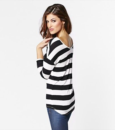 #DYNHOLIDAY Stripe a pose! Look polished and sexy in this striped long sleeve top. It is perfect for wearing on a casual day with your jeans.