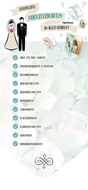 Mit dieser Checkliste für Hochzeitskarten vergesst Ihr sicher nichts.