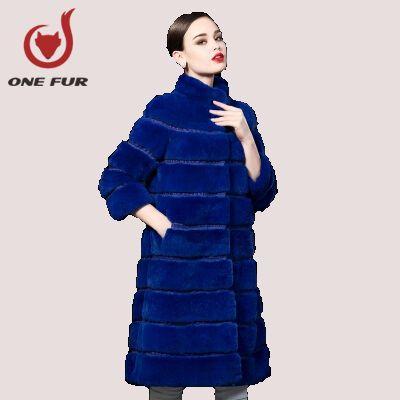 Вся кожа рекс кролика волосы шуба для женщин натурального меха из натурального меха зимняя длинные пиджаки женского пальто