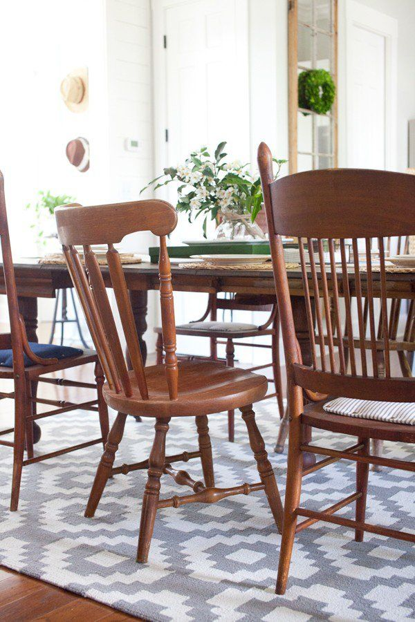 Cottage Farmhouse Dining Table And Chairs Homespun Trellis RugsUSA Our