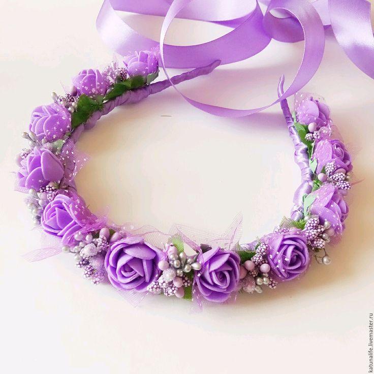 """Купить Ободок Венок Обруч """"Сиреневая весна"""" - ободок для волос, ободок с цветами, ободок для девочки"""