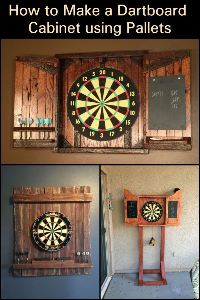 With your own DIY pallet dartboard cabinet, you can organize your