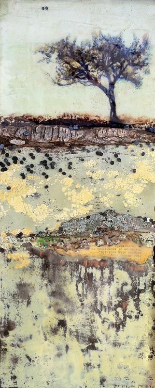 """Soliloquy No. 17"" by Robin Luciano Beaty - encaustic and mixed-media on braced birch"