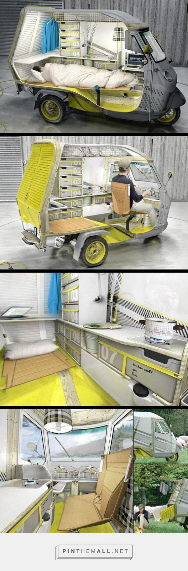 "I WANT ONE!!  This is a ""Bufalino,"" a one-person camper with a Piaggio APE 50 as its platform - isn't it just the cutest little three wheeled vehicle? Designer: Cornelius Comanns"