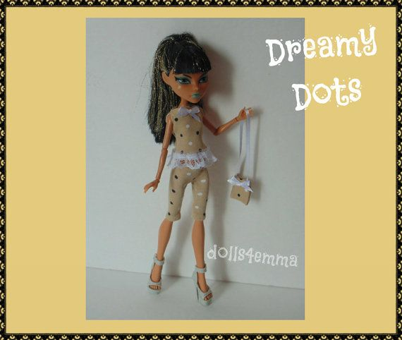 Custom Monster High Doll Clothes  Dreamy Dots Top by DOLLS4EMMA on Etsy