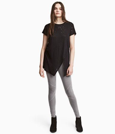 Dark gray. Leggings in stretch cotton jersey with an elasticized waistband and decorative, quilted details.