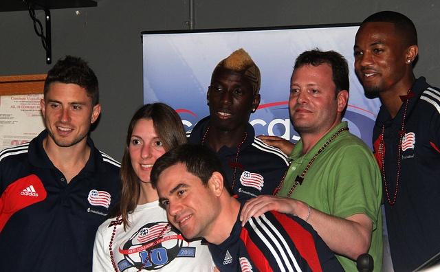 Chris Tierney, Saer Sene, Darrius Barnes with fans | Fan ...
