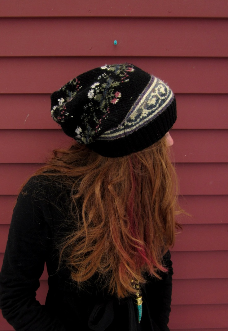 Black and Floral Fair Isle Pattern Recycled Sweater Slouchy Tam Hat Beanie By MountainGirlClothing