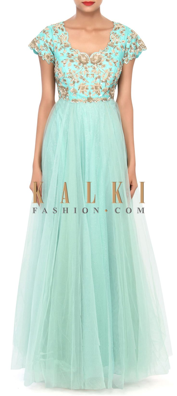 Buy Online from the link below. We ship worldwide (Free Shipping over US$100) Price- $429.00 Click Anywhere to Tag http://www.kalkifashion.com/sea-green-anarkali-suit-embellished-in-zardosi-and-sequin-embroidery-only-on-kalki.html