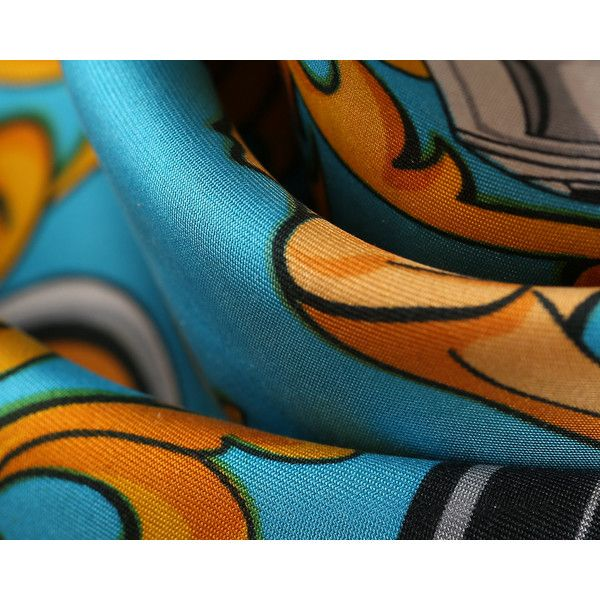 Ladies Silk Scarf 90s MONTEIL Parfums Azure Blue Gold Royal Print Joop... ($114) ❤ liked on Polyvore featuring accessories, scarves, silk shawl, silk scarves, vintage silk scarves, pure silk scarves and print scarves