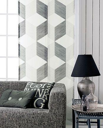 Gewebt m/Muster Natur/Schwarz/Grau - Stoff  Stil
