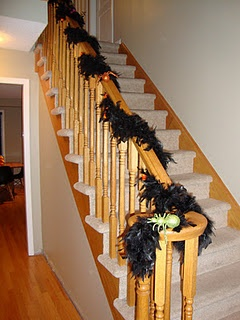Best Halloween Decor On The Stairs Feather Boas And Glittery 400 x 300