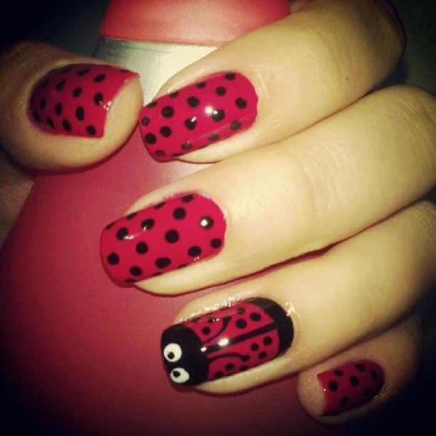 #Red #nails #cute #LadyBug #Mariquita