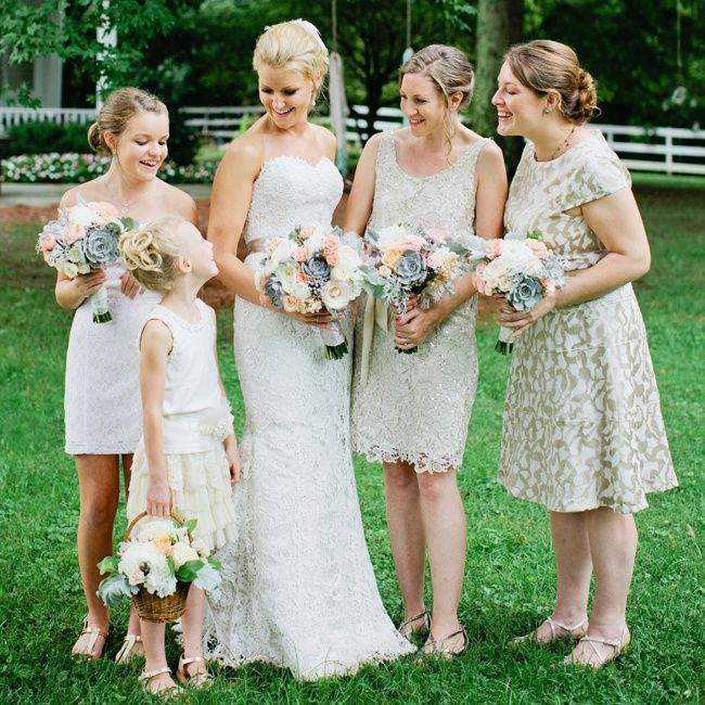 Mismatched neutral bridesmaid dresses | Photographer ...