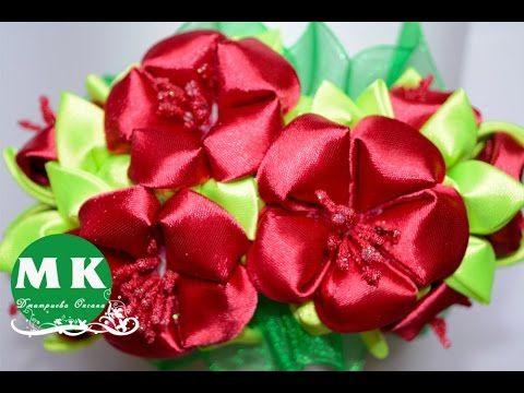 Ободок с цветами Канзаши/Headband kanzashi flowers