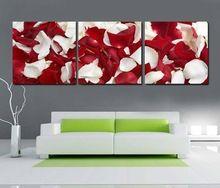 Бесплатная доставка красный белый лепесток розы европе холст стены искусства дома украшают настенные росписи 3 шт. холст картины по номерам(China (Mainland))
