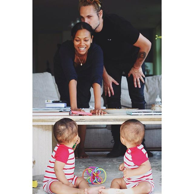 """Pin for Later: 60 Adorable Moments Between Zoe Saldana and Her Twins  On National Twins Day, Zoe said: """"I feel blessed to share these precious moments with you in hopes that it can inspire you and make you smile."""""""