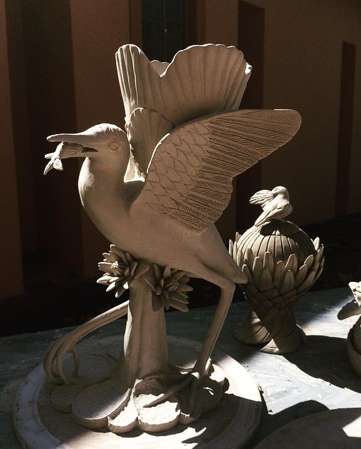 A beautiful clay Jacana drying in the sun, created for our 'Great Zambezi' Collection.