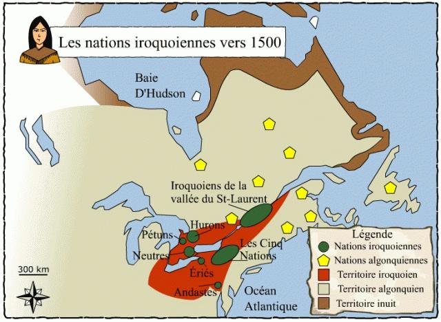 Banque d'images en Univers social. Ex: Emplacement des nations iroquoiennes vers 1500