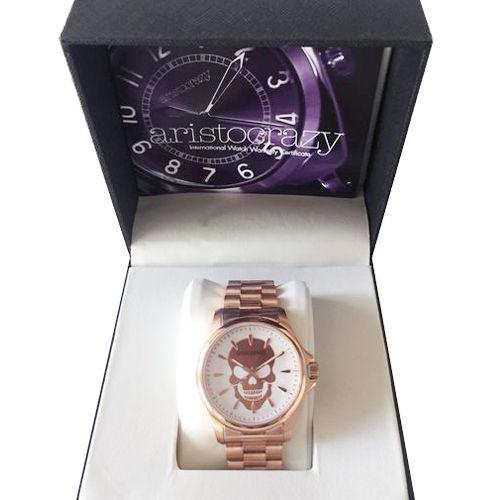 Reloj #Aristocrazy en oro rosa a estrenar con calavera y esfera blanca. ¿Vas a quedarte sin él?: http://bit.ly/1T1phHM