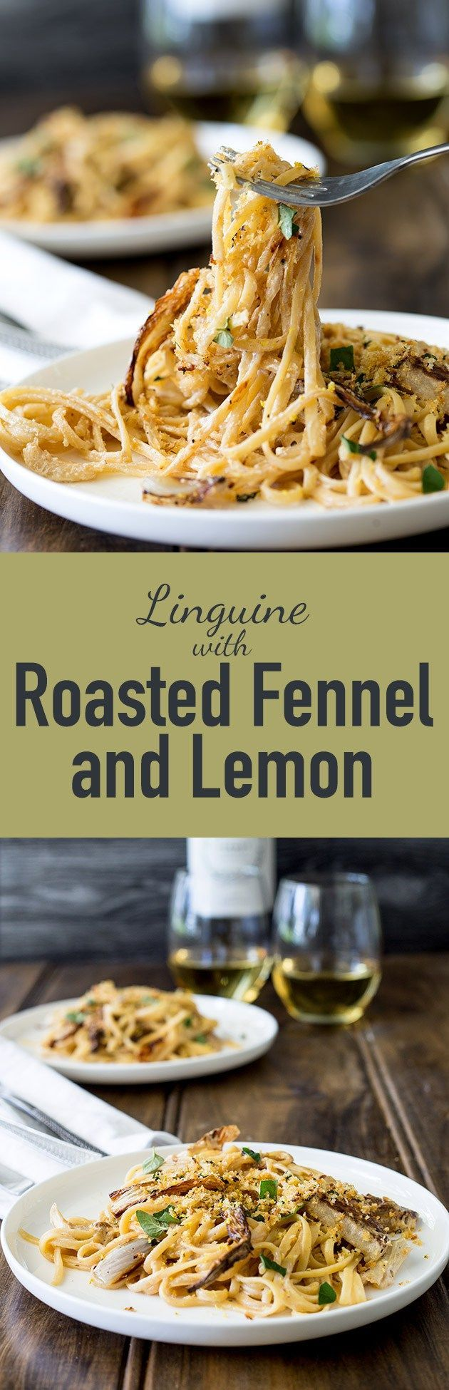 Sweet roasted fennel, paired with a subtle bite of lemon and a salty pangrattao. A great vegetarian pasta dish, perfect for fall.