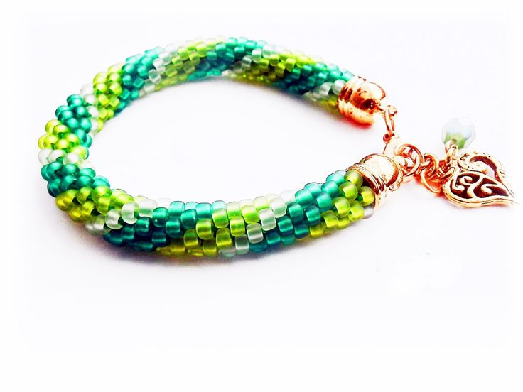 Beaded Bracelet. Toho Seed Beads Bracelet. Green Bracelet.Boho Bracelet.  Crochet Rope Beaded.Gift for her. Birthstone Bracelet August by MadeByJoLis on Etsy