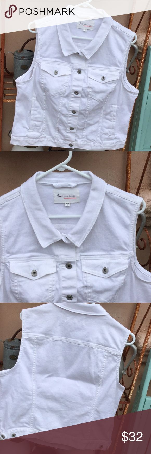 """Vince Camuto White Denim sleeveless Vest Like New It is perfectly white and perfectly spotless..been washed, so ck measurements since tag calls XL.22"""" long, 22"""" underarm to underarm. Two by Vince Camuto Jackets & Coats Vests"""
