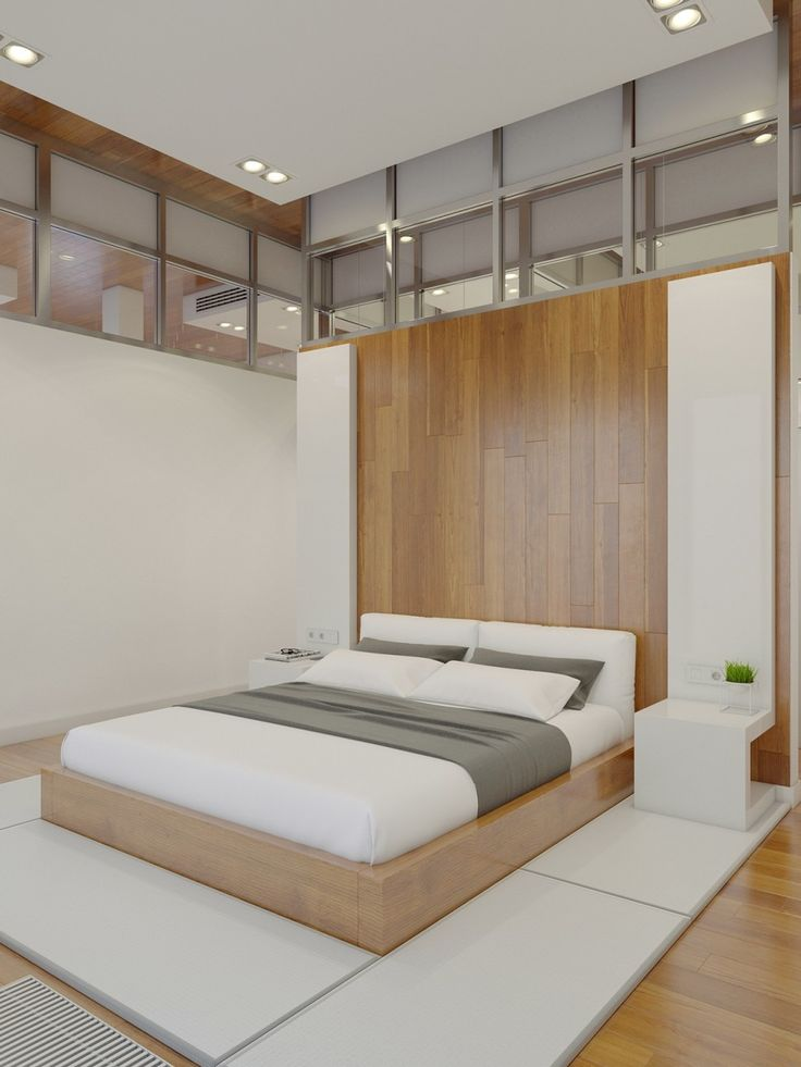 Apartments:White Comfy Bed White Cushions Wooden Striped Pattern Wall Wooden Striped Pattern Floor White Small Bed Side Table Ceiling Lights Rise Glass Ventilations Dimmer Light Switch A Huge Apartment with Charming Simple Interior