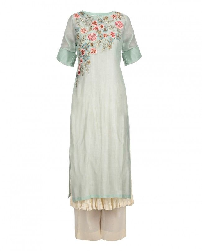 PRATIMA PANDEY | Sea blue kurta with floral embroidery, sequins and beads work adorning the bodice. Round neckline. Roll over sleeves. Wash Care: Dry clean onlyMatching sleeveless slip and palazzo pants included