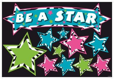 "Zebra Stars ""Be a Star"" Motivational Bulletin Board Set - Motivate your students in style with this bright and fun bulletin board set! Featuring vibrant colors, zebra accents and enough stars to record every member of your classroom, students will want to ""Be a Star!"" #ClassroomDecorations #Zebra"