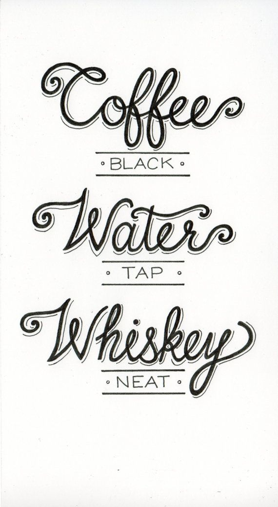 Hey, I found this really awesome Etsy listing at https://www.etsy.com/listing/157108993/coffee-water-whiskey-print