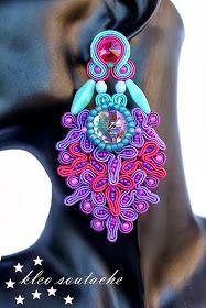 Sutasz Kleo /Soutache jewellery: PALERMO- turkus, fuksja, fiolet.