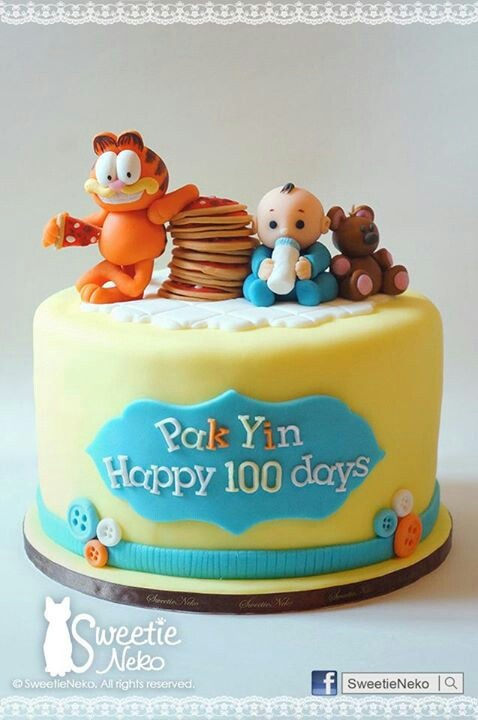 8 fondant cake with 3d garfield pooky baby www for Anpanman cake decoration