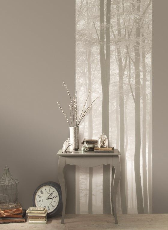 Soft silhouetted trees in natural tones add some subtle interest to this plain taupe wall. From the Trendy Panels collection, Foret TDP63547000. This is a Guthrie Bowron exclusive range in NZ.