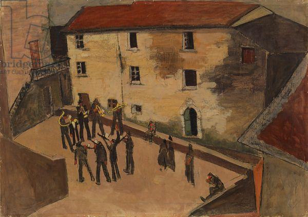 Square of Giustagnana (Piazza di Giustagnana), by Lorenzo Viani, 1920, 20th Century, oil on canvas, 73 x 103,5 cm