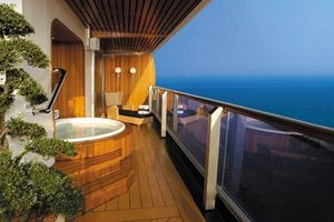 The only way to travel - private hot tub on the balcony - Holland America.