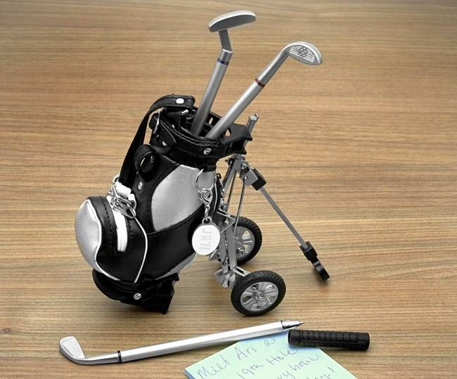 Golf Club Pen Set With Golf Bag On Cart, $21