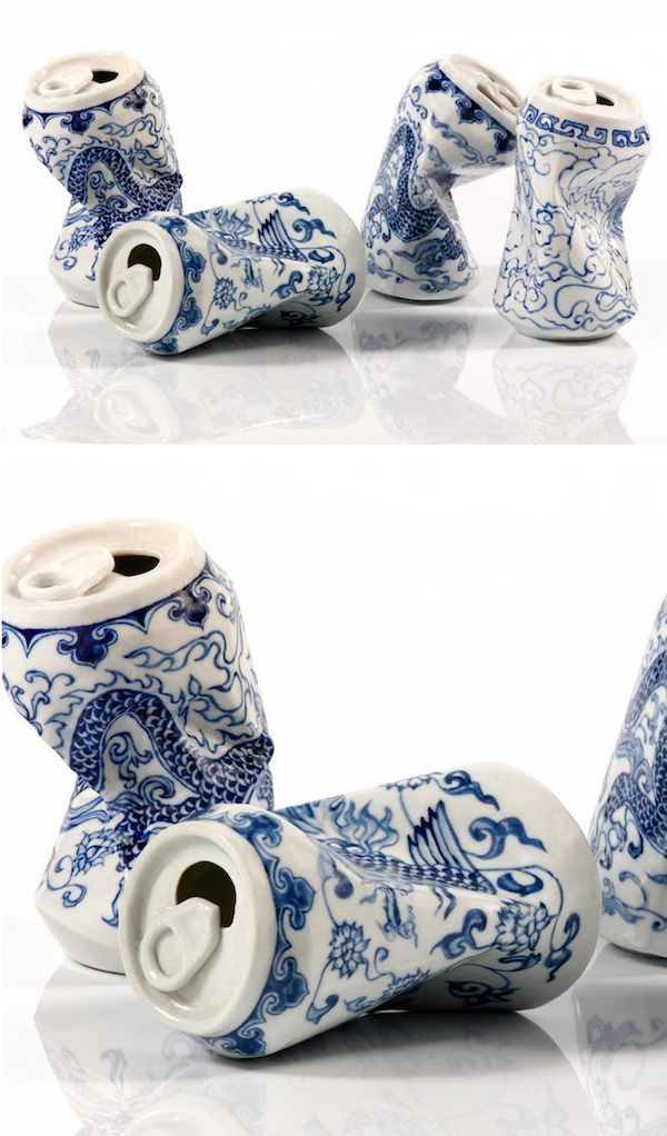 Artist Lei Xue skillfully sculpts and paints porcelain sculptures that look like smashed cans with traditional patterns.