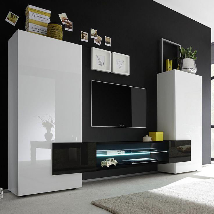 17 meilleures id es propos de meuble tv noir laqu sur pinterest tv 3d c - Meuble blanc laque et bois ...