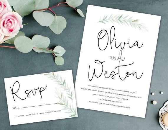 Biologische bruiloft uitnodiging aardse door AlexaNelsonPrints
