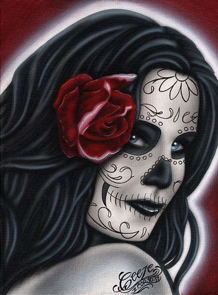 Adultress by Big Ceeze Sugar Skull Death Mask Woman Tattoo Art Print