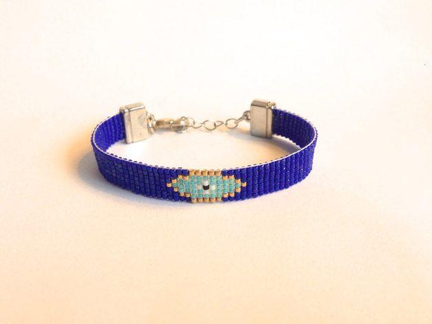 Vriendschapsarmbandjes - Boze oog handgeweven armband blauw - Een uniek product van boho-ibiza-armbanden-ocean-glow-jewelry op DaWanda