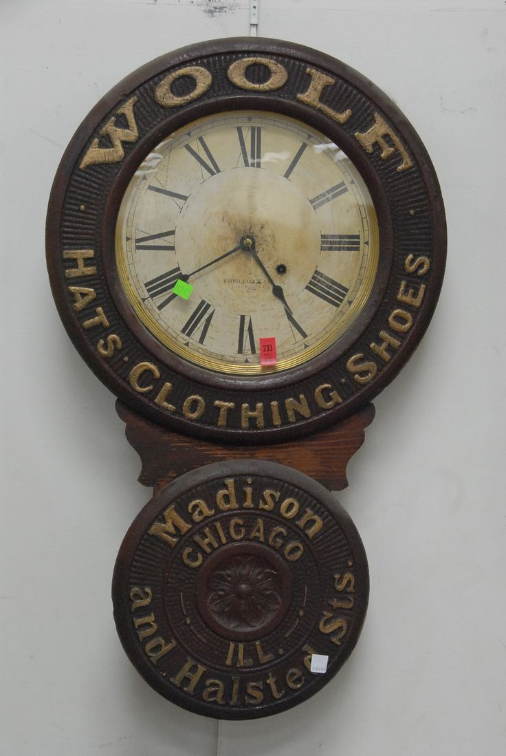 "Woolf Hats, Clothing, Shoes Madison & Halsted Sts. Chicago ILL advertising clock by Baird Clock company Plattsburgh NY, ht 30 1/2"". - Realized Price: $1,725.00"