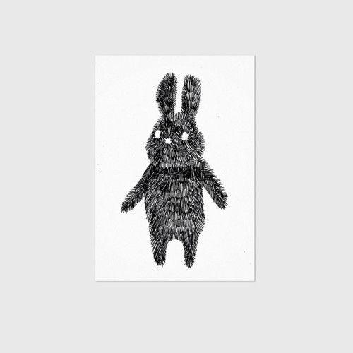 Poster gestreepte konijn / Studio Rainbow Prints / Rabbit - Black stripes