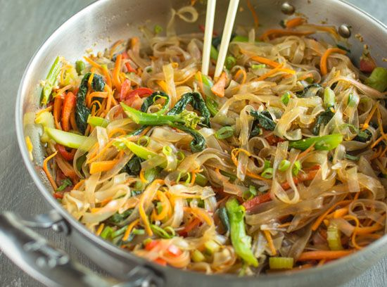 Filled with a rainbow of delicious vegetables, this vegetable stir fry mung bean noodle dish is vegan and gluten-free!