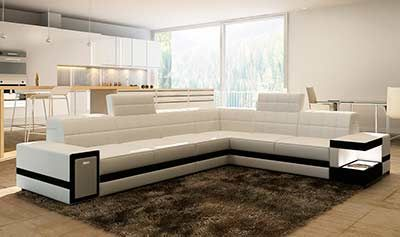 Modern White Leather Sectional Sofa VG106