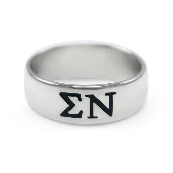 Bague en argent sterling Nu fraternité Sigma avec enamled noir lettres grecques / / ΣΝ fraternité / / anneaux de fraternité / / cadeaux de fraternité / / grec
