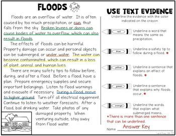 Floods and Droughts are natural disasters that are important for students to learn about. Students will research and learn about floods and droughts by using graphic organizers, reading and using text evidence, learning new vocabulary, and writing important information and safety tips.