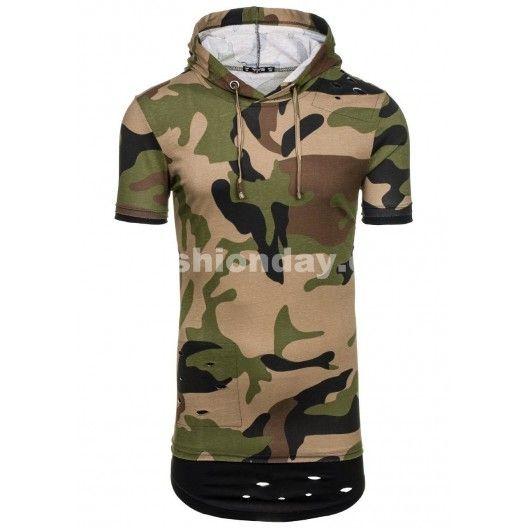 Pánske army tričko krátky rukáv v zelenej farbe - fashionday.eu